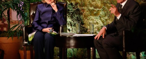 Harrison Ford and Hillary Clinton talk conservation. Image: Still4Hill